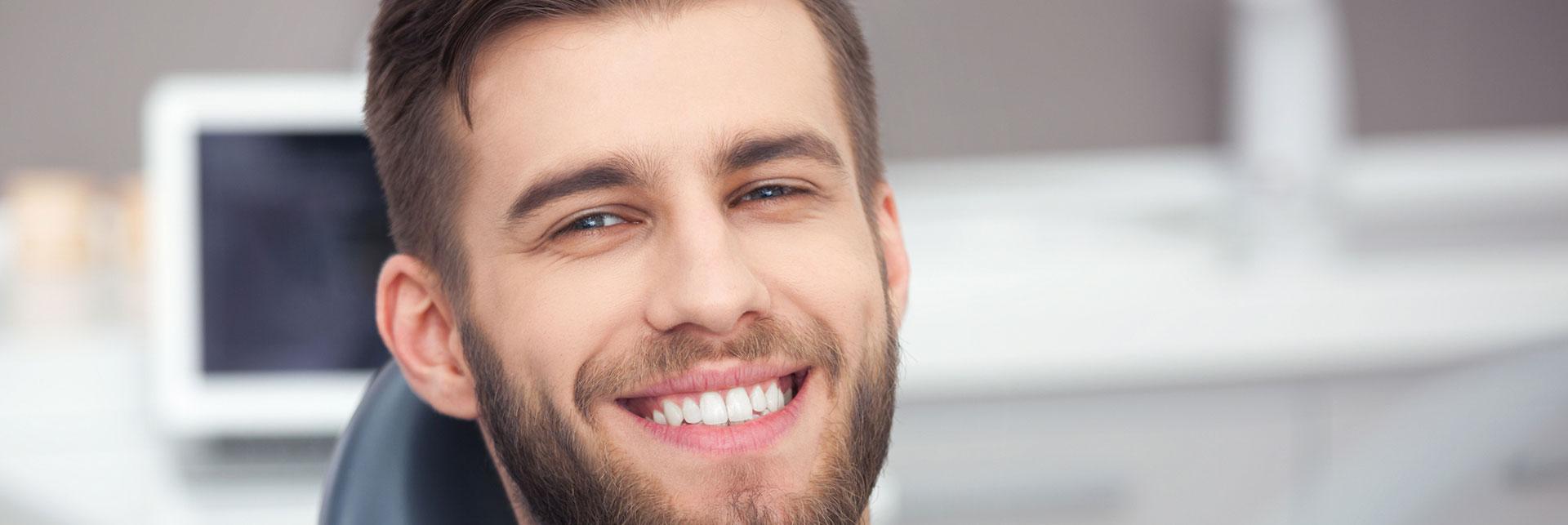 Happy man who had a oral surgery